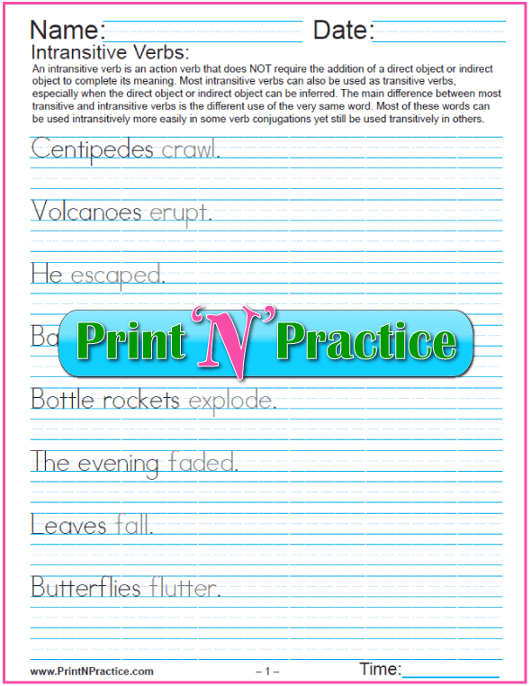 Intransitive Types of Verbs Worksheets: Manuscript