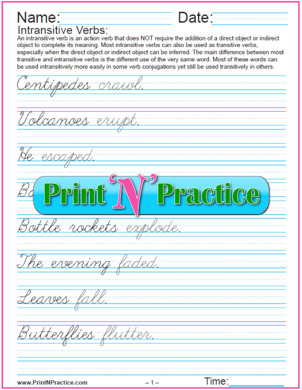 Cursive: Intransitive Types of Verbs Worksheets