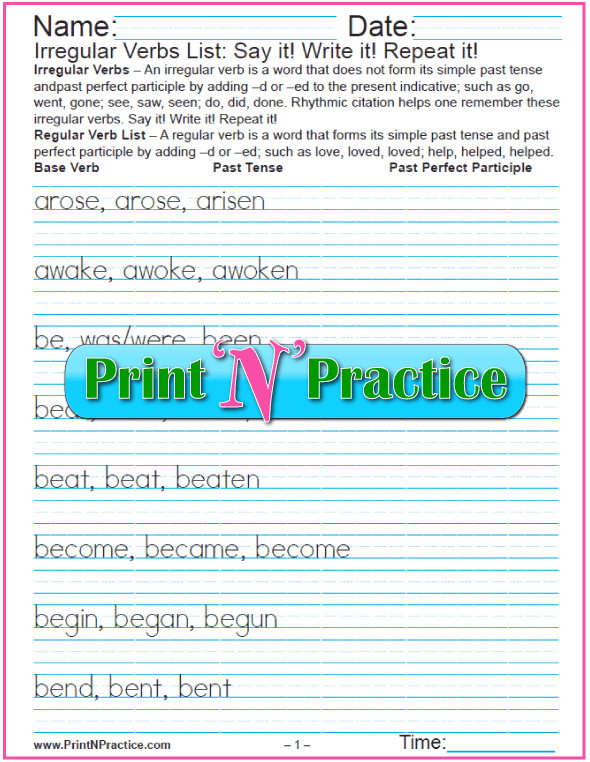 Printable Verb Worksheets: Irregular Verbs List