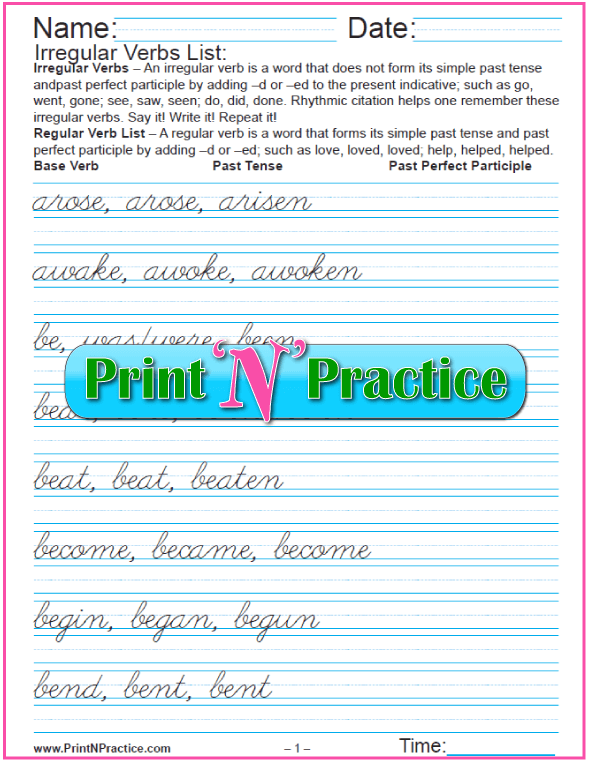 Printable Verb Worksheets: Cursive Irregular Verbs List