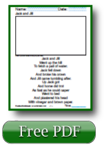 Jack and Jill Printable 1st Grade Reading Worksheets