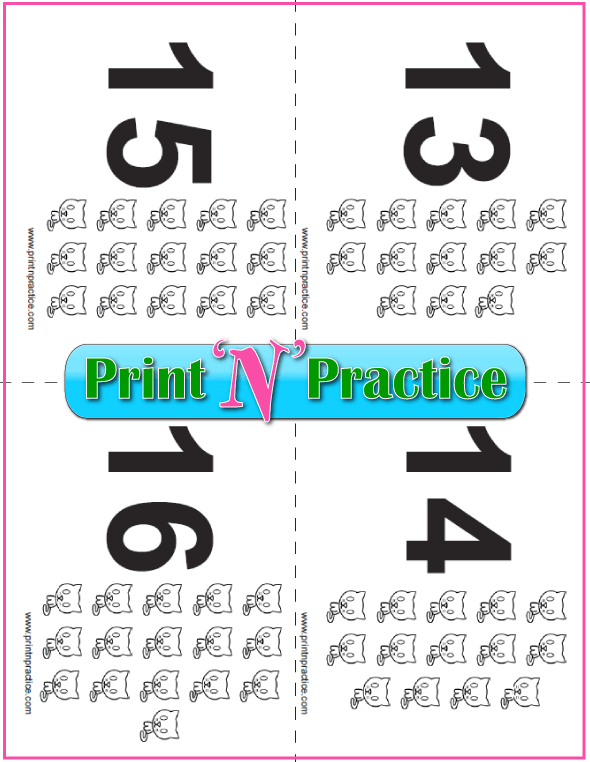 Printable Kitten Counting Flash Cards 13-16