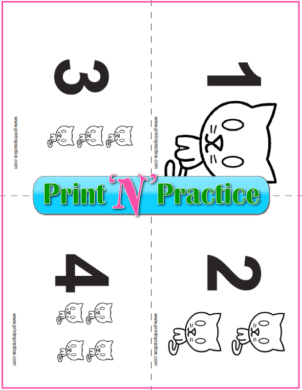 Printable Counting Flash Cards With Kittens 1-20 set.
