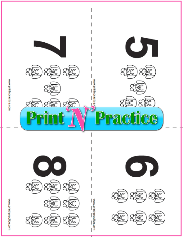 Printable Puppy Counting Flash Cards 5-8