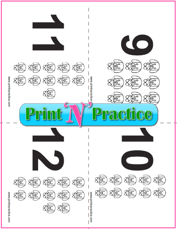 PDF Puppy Counting Flash Cards 9-12
