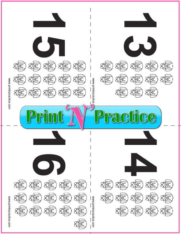 Puppy Counting Flashcards 13-16