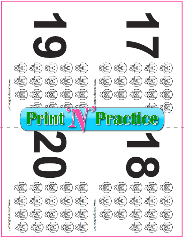 Puppy Counting Flashcards 17-20