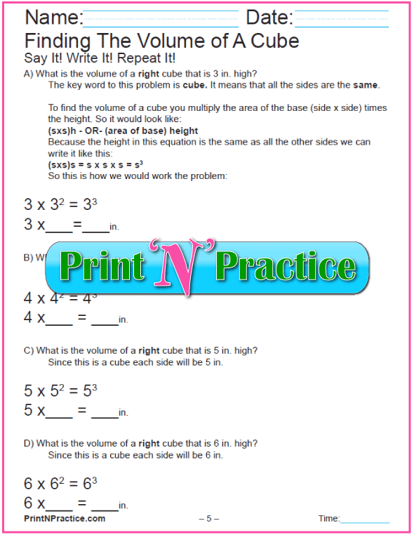 Printable Volume Worksheets Volume of a Cube 3-6