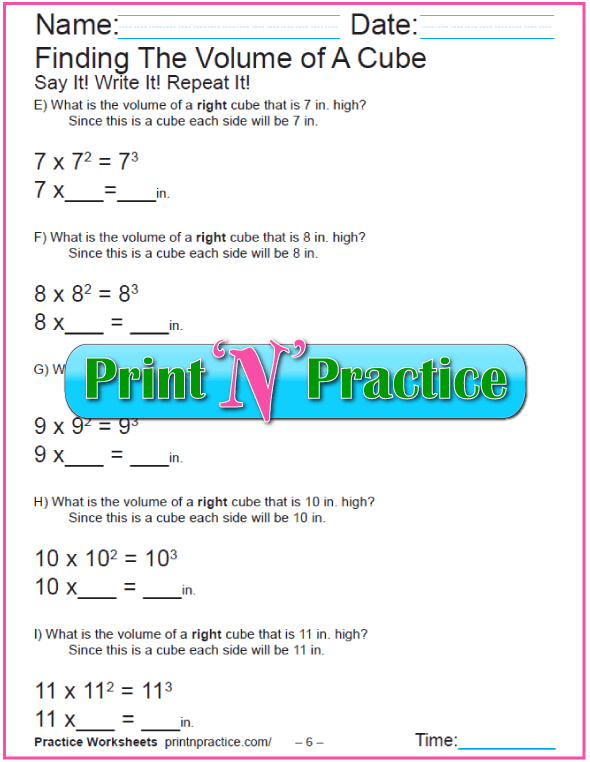 Printable Cube Volume Worksheet 7-12