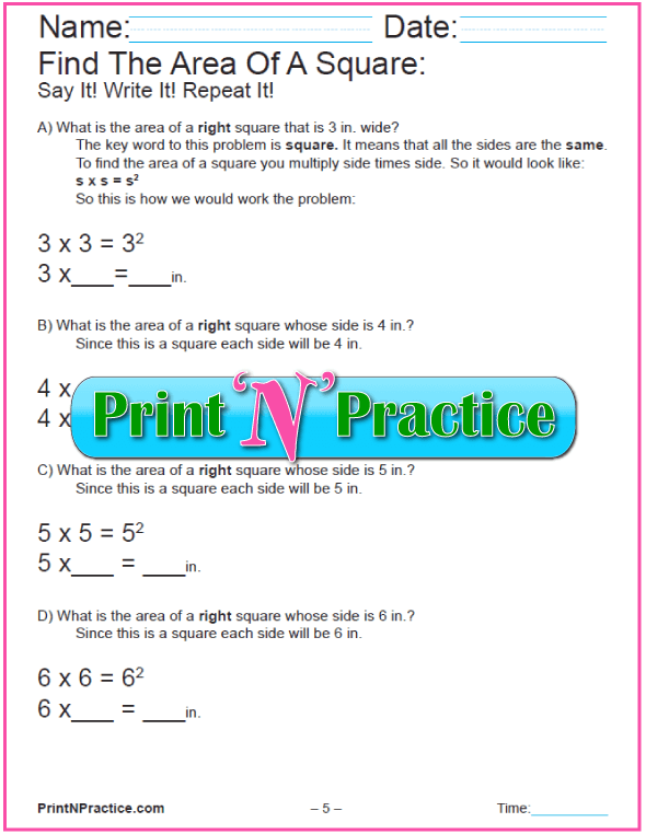 Printable Area of Squares Worksheet 1