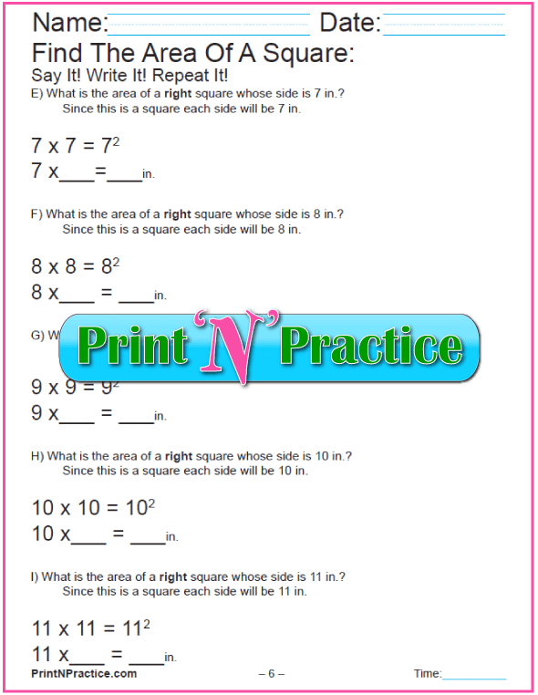 Printable Area of Squares Worksheet 2