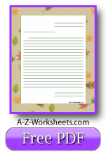 Printable Lined Paper Falling Leaves
