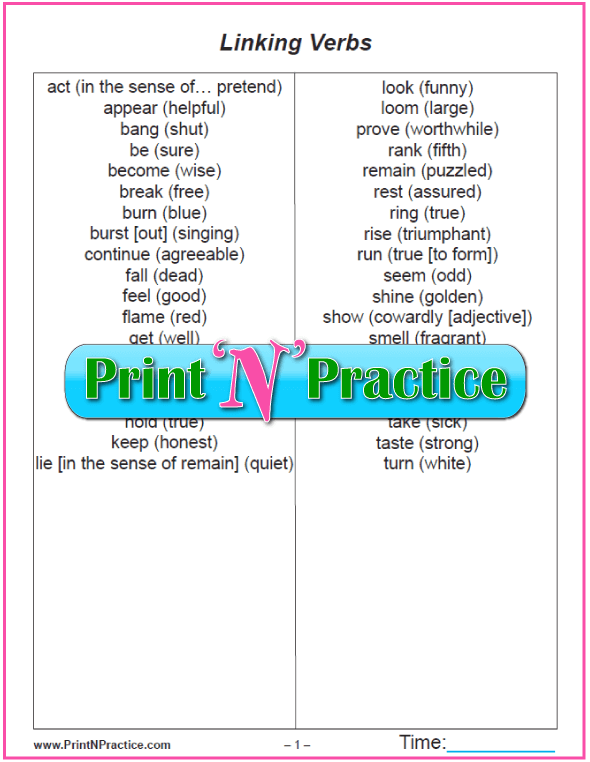 Printable Linking Verb List