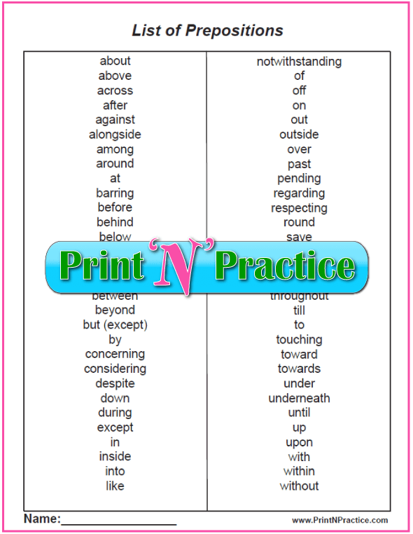 List of Prepositions And Preposition Worksheets