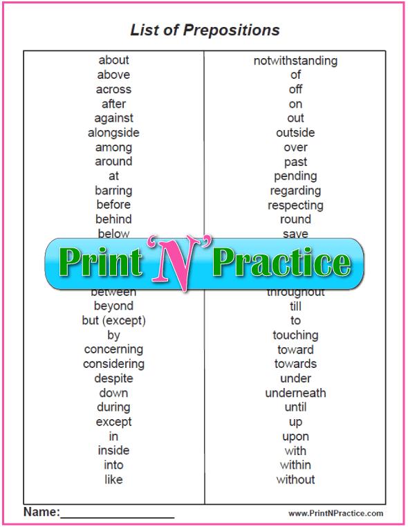 Printable List of Prepositions