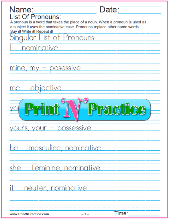 Pronoun Worksheets And Lists Of Pronouns. Manuscript List Of Pronouns. Worksheet. Pronoun Worksheets At Mspartners.co