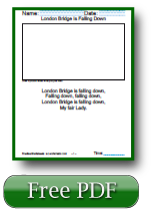 London Bridge is Falling Down Nursery Rhymes Kindergarten Reading Comprehension Worksheets