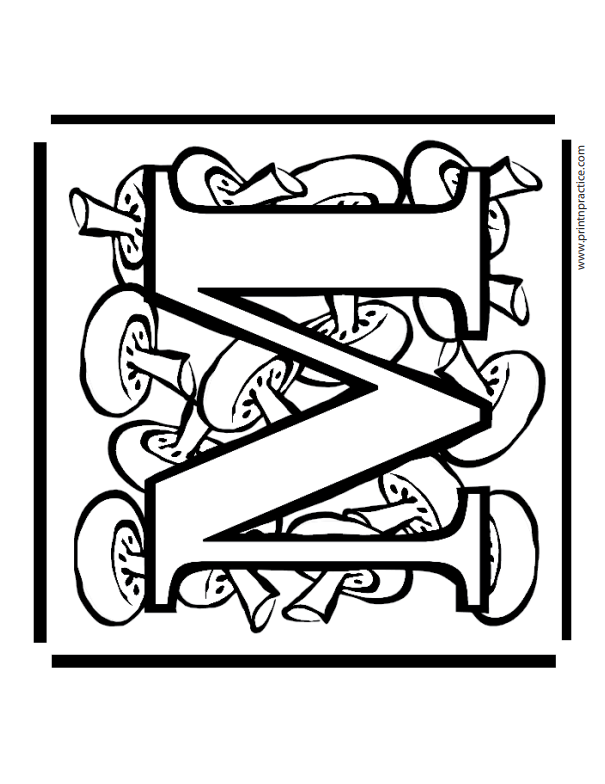 M For Mushroom Coloring Pages Alphabet Letters