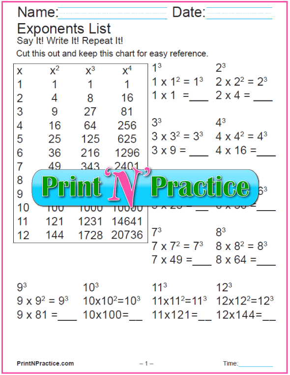 Printable Worksheets Cubes - Exponents