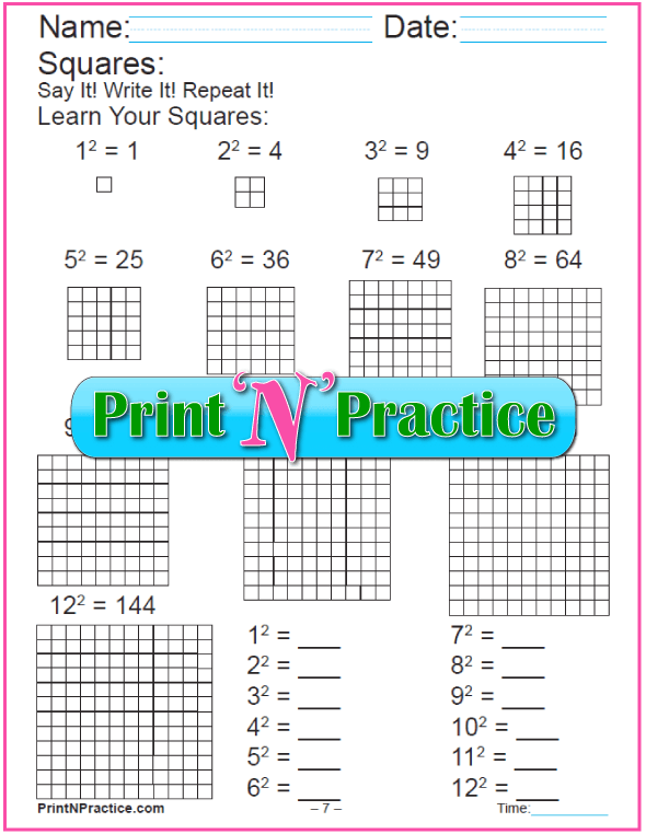 Worksheets for Making Squares 1-12 Exponents