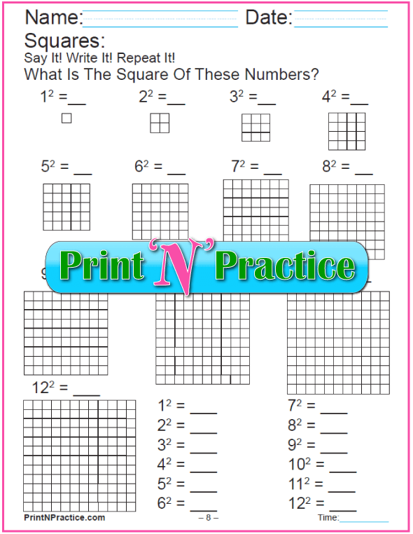 Printable Math Worksheets Making Squares With Blocks