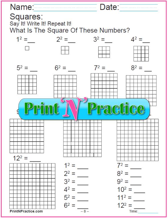 Printable Math Worksheets Making Squares With Blocks