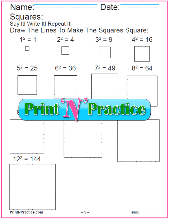 Printable Worksheets For Exponents Making Squares With Blocks