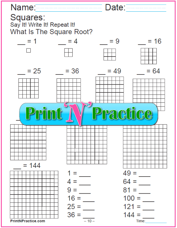 Printable Square Roots Worksheets With Blocks