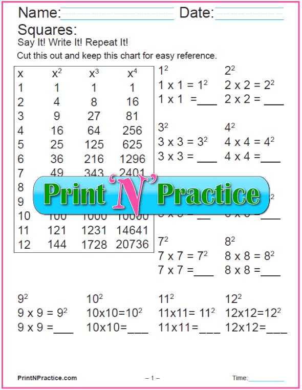 Printable Making Squares Worksheet 1