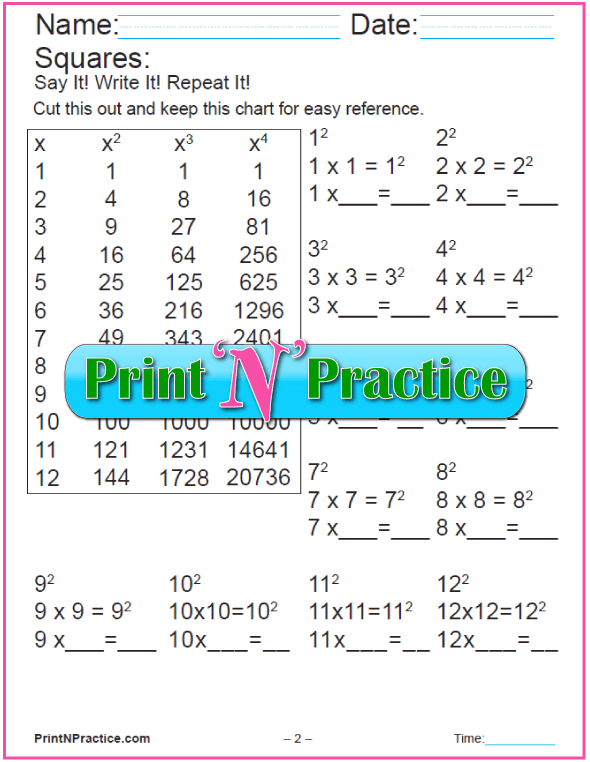 Printable Exponent Worksheets: Making Squares PDF 2