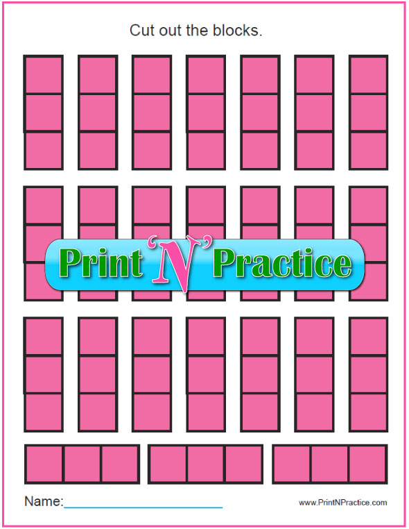 Fun printable Counting Worksheets and cut and color Math Manipulative worksheets for kids!