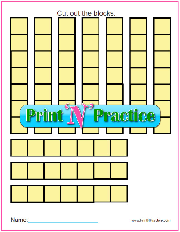 Printable Math Counting Manipulative: Counting by seven.