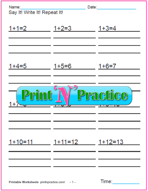 Addition worksheets for kindergarten: Add 1