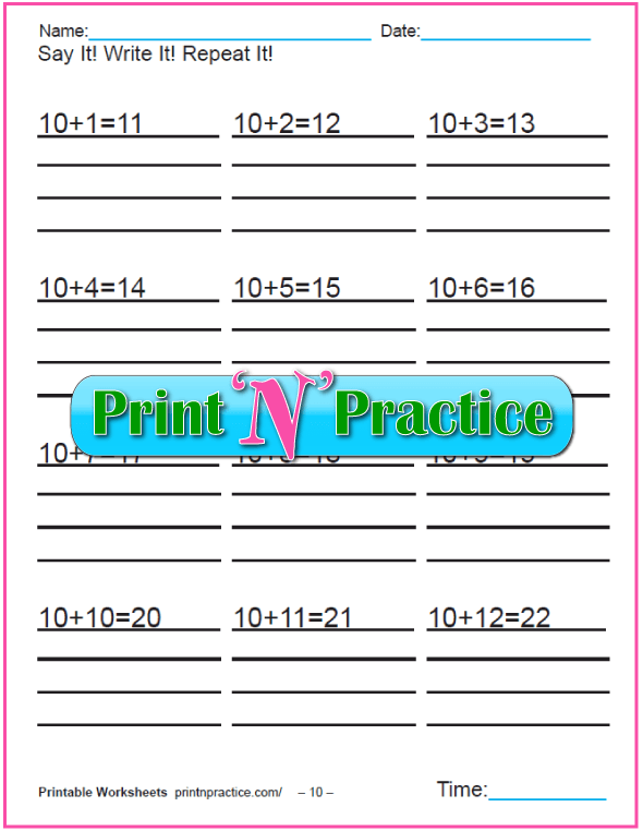 Addition worksheets for kindergarten: Adding Ten.