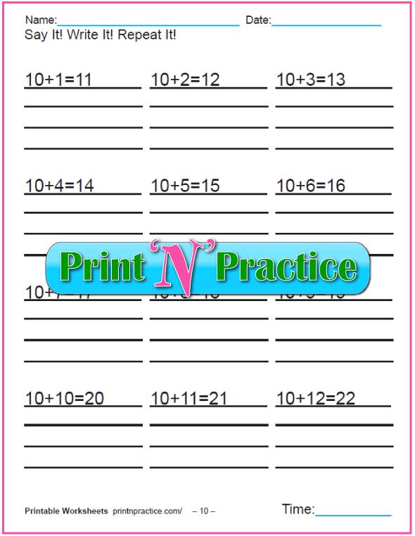 Addition worksheets for kindergarten: Adding Ten.