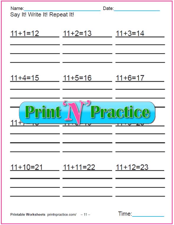 Addition worksheets for kindergarten: Adding Eleven.