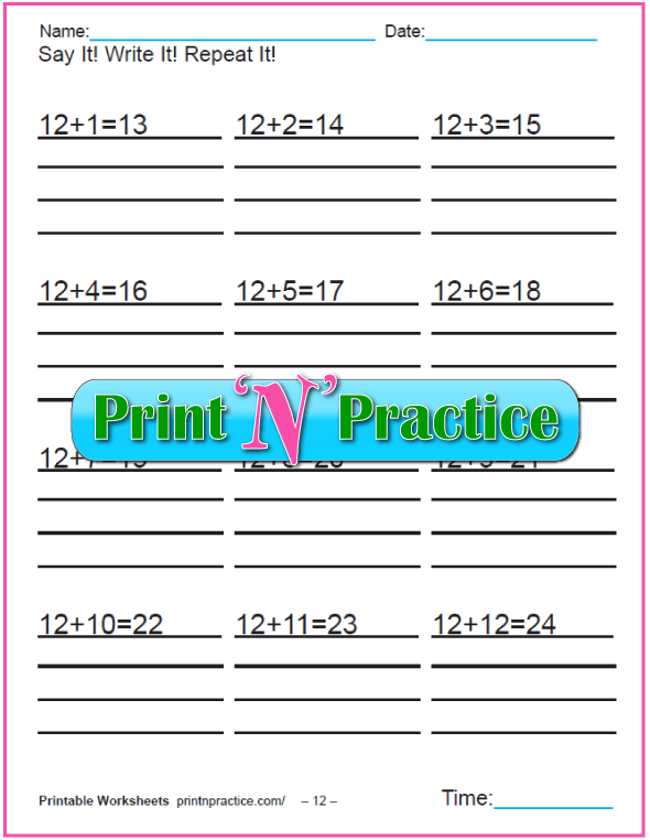 Addition worksheets for kindergarten: Adding Twelve.