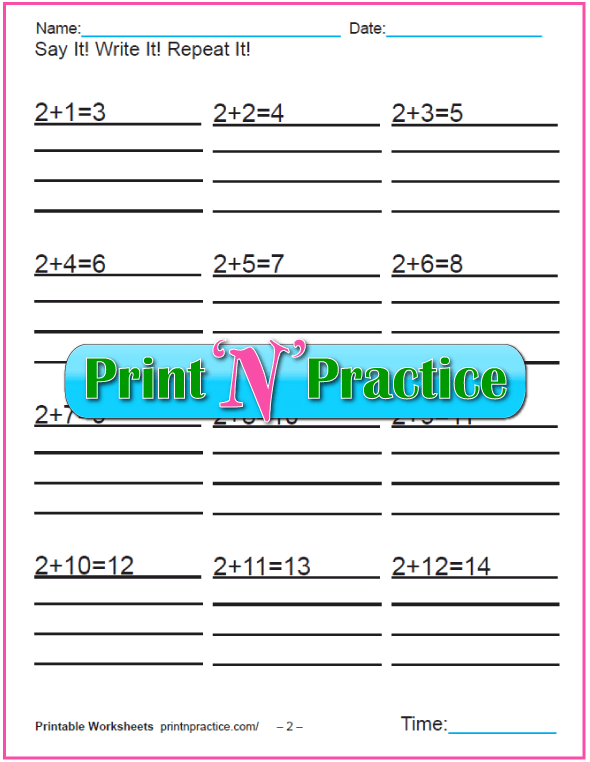 Addition worksheets for kindergarten: Adding Two.