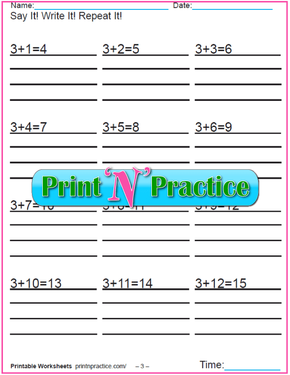 Addition worksheets for kindergarten: Adding Three.