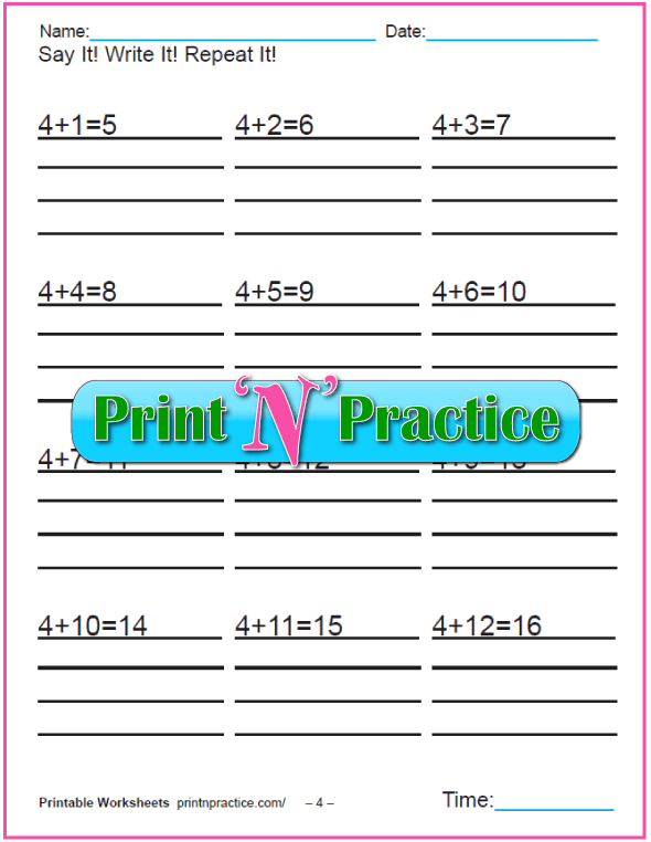 Addition worksheets for kindergarten: Adding Four.