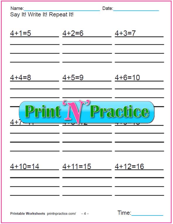 Addition worksheets for kindergarten: Adding Four.