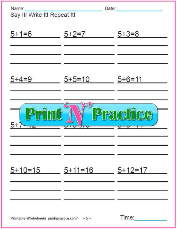 Addition worksheets for kindergarten: Adding Five.