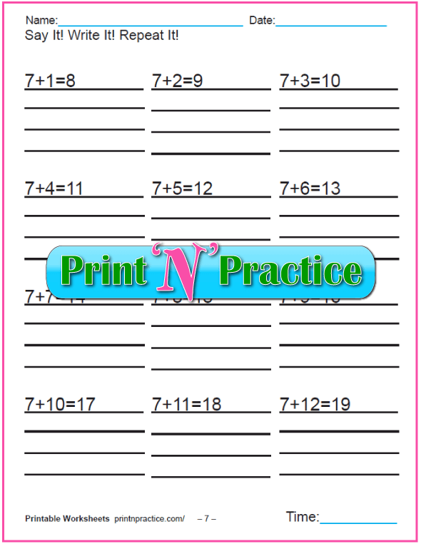Addition worksheets for kindergarten: Adding Seven.