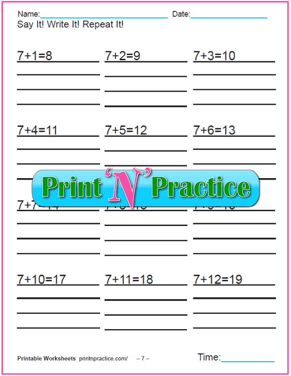Addition worksheets for kindergarten: Adding Seven.