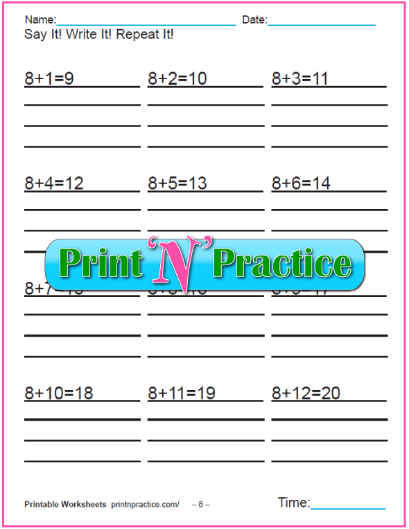 Addition worksheets for kindergarten: Adding Eight.