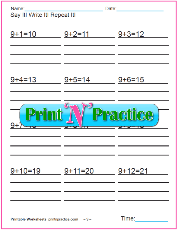 Addition worksheets for kindergarten: Adding Nine.