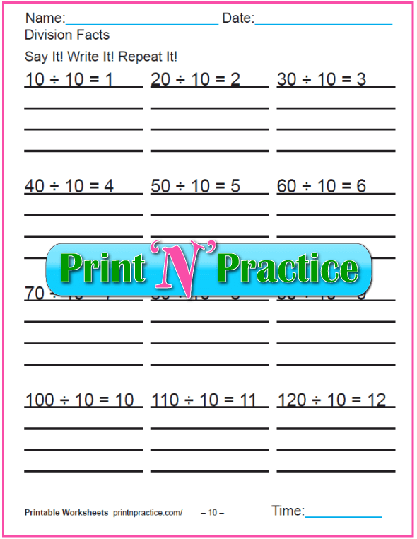 Tens Division Printables - Copy three times.