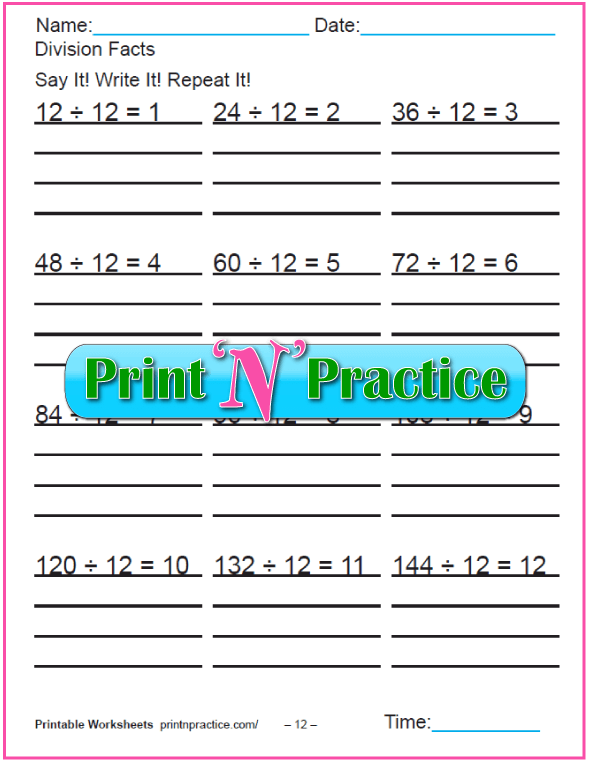 Twelves 3rd Grade Division Printable - Copy three times each.