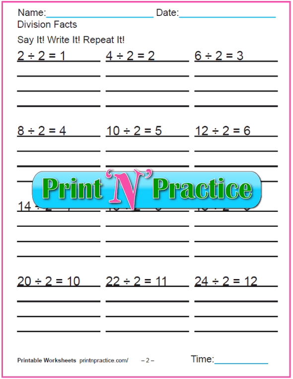 Twos Third Grade Division Worksheet - Copy three times.
