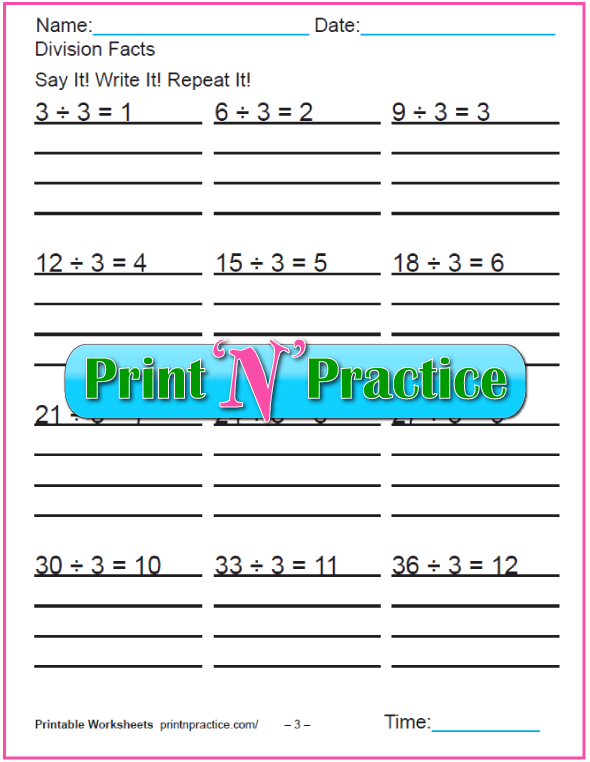 Threes Printable Division Worksheet - Copy three times.